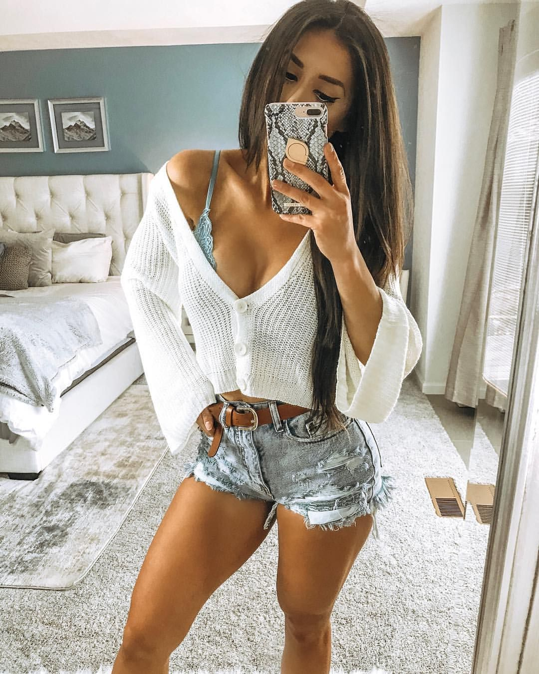 Yvetteg23 On Instagram High Waisted Distressed Denim Shorts Bralette Sage Knit Button Sweater Tan Be Spring Sweater Outfits Outfits With Hats Todays Outfit