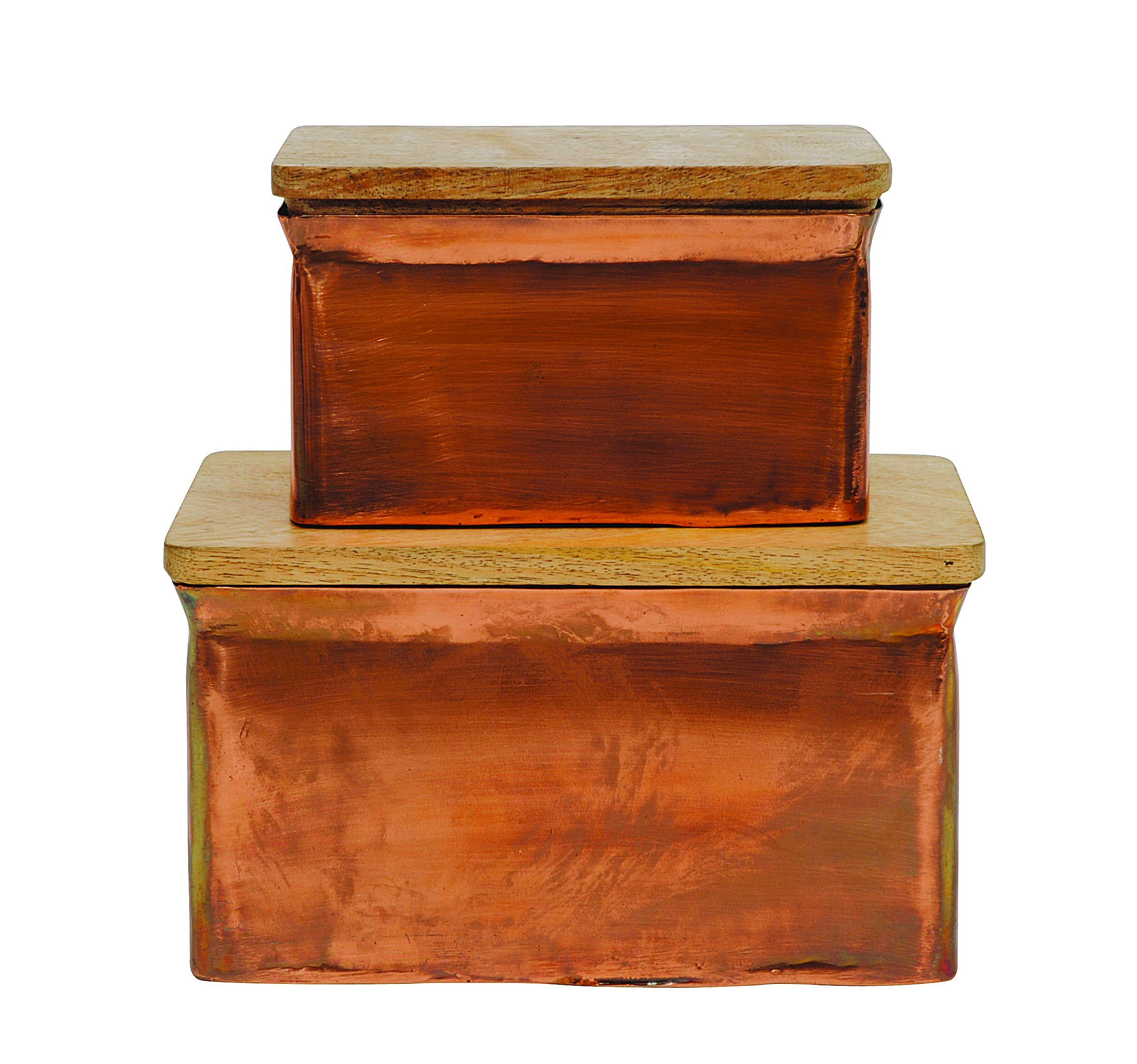 Creative Co-Op Aluminum Box Set with Copper Finish and Wood Lids