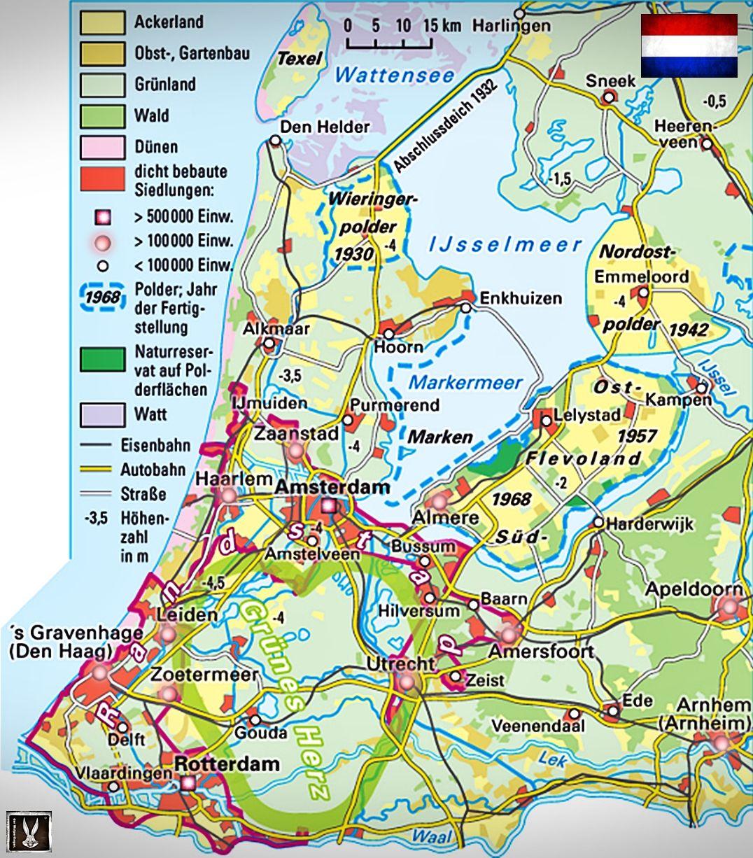 Niederlande Ijsselmeer Karte.Holland Thematische Karte Mit Polder Im Ijsselmeer Und Randstad