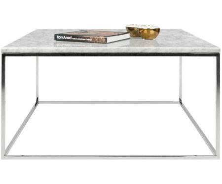 Marmor Couchtisch Gleam Tischplatte Weiss Marmoriert Gestell