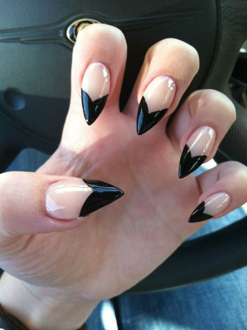 Clear and Black Stiletto Nails fashion nail pretty nail art nail ...