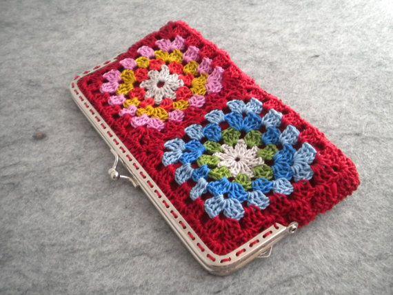 Crochet Purse - Red crochet granny square bag with metalic strap