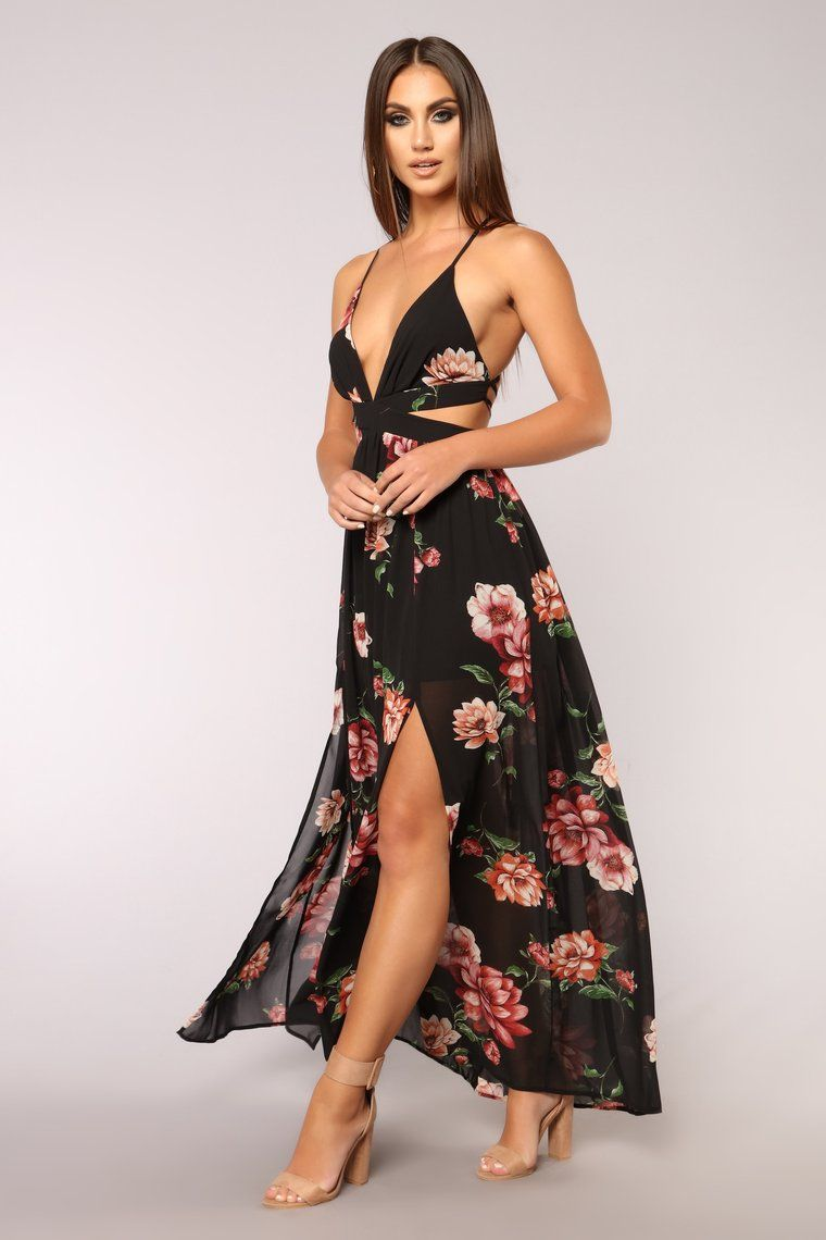 Lanai Maxi Dress Black Floral Floral dress outfits