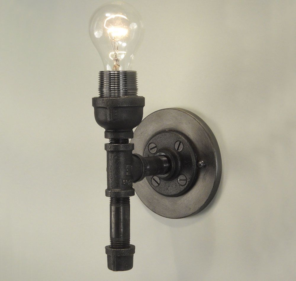 Industrial wall sconce light collections pipe fittings for Black iron pipe lights