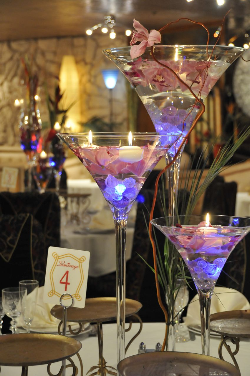 Unique martini glass centerpieces with floating candles