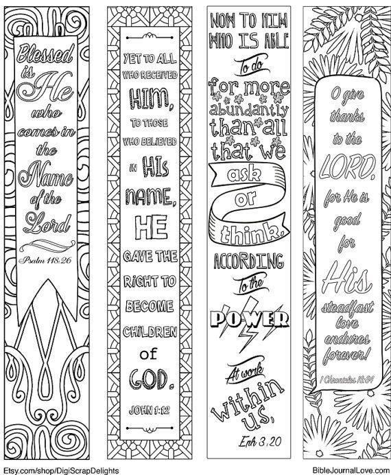4 Printable Coloring Bible Journaling Margin Strips Praise Verses For Wide Margins