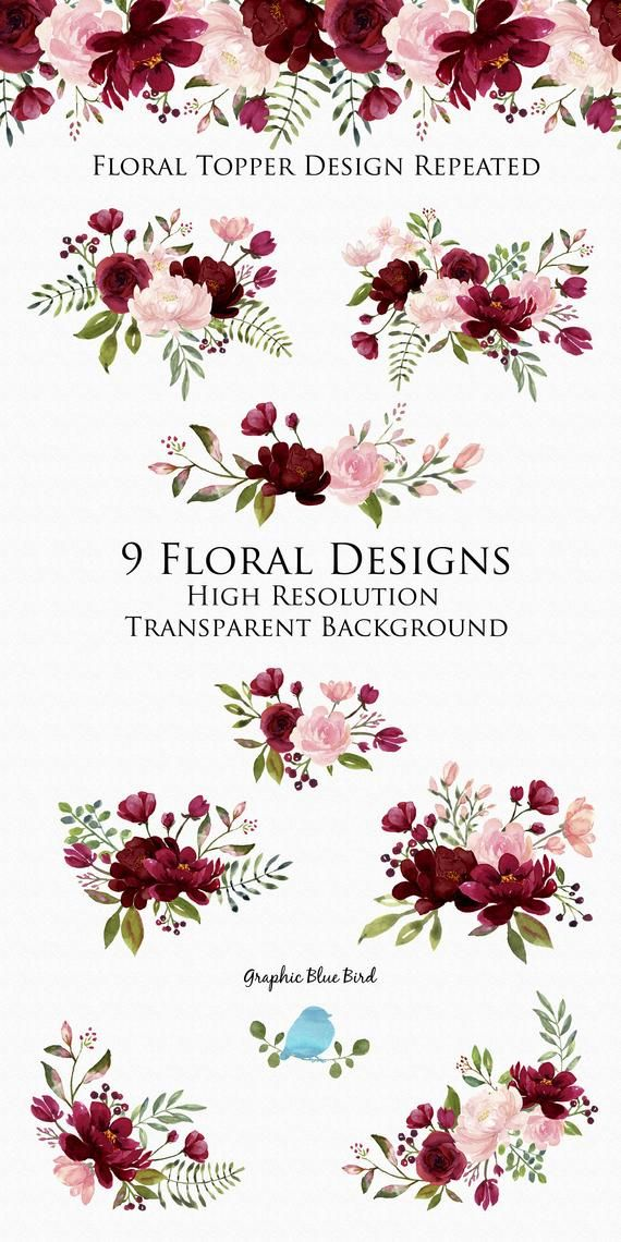 Photo of Blush and burgundy flowers watercolor clipart collection, burgundy wedding, floral designs hand painted flowers for DIY wedding invitations