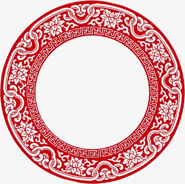 Chinese Style Clouds Red Ring New Back Shaped Tread Pattern Antique Circular Frame Png Spring Png Material