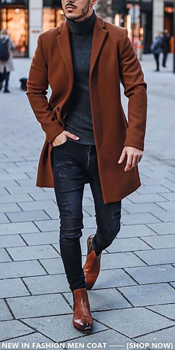 Men's Fashion Solid Colour Lapel Overcoat