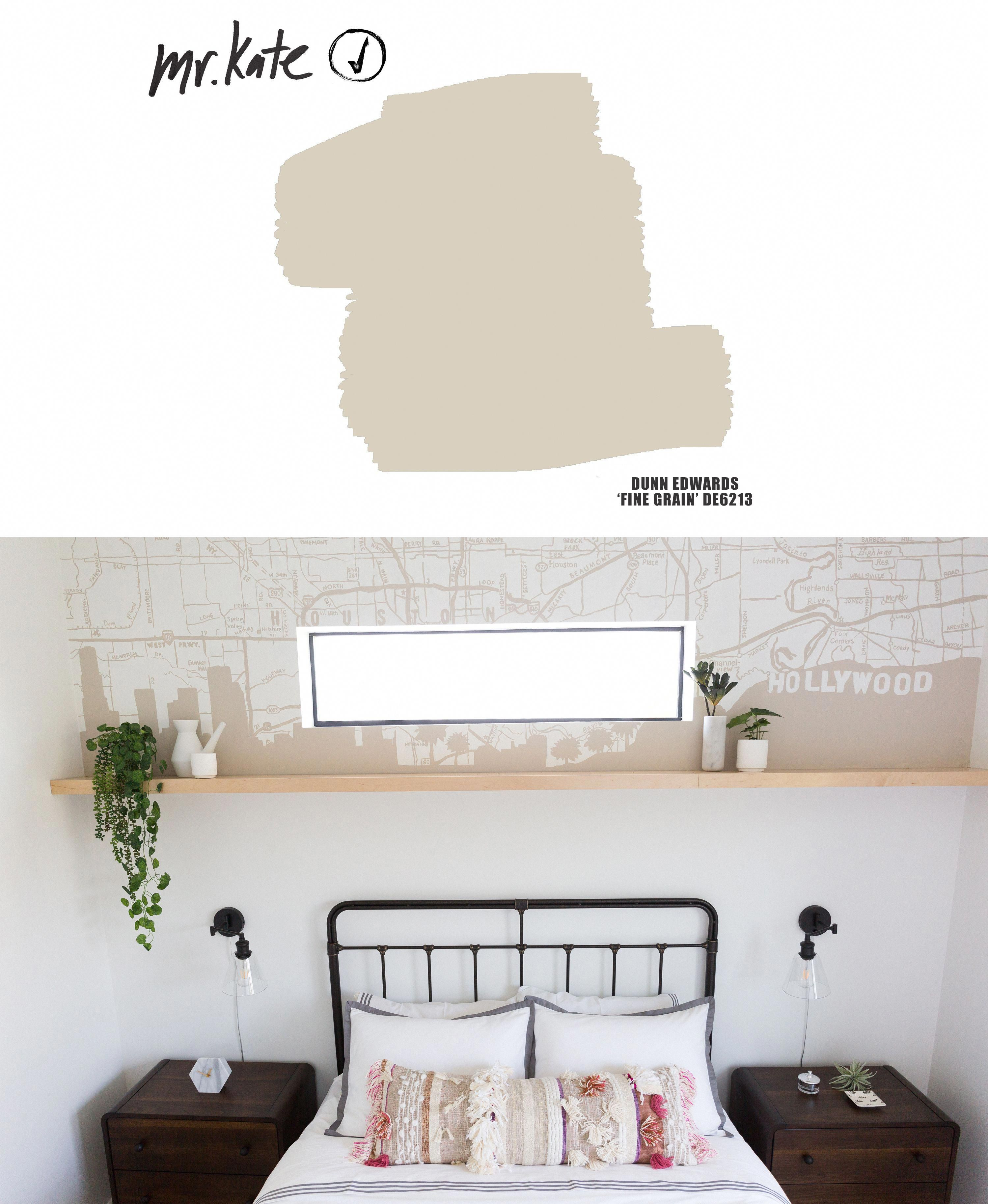 The light tan taupe paint color we used for Liza Koshy s bedroom custom city map city skyline mural of Houston meets Hollywood