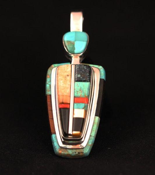 Lyndon Tsosie Sterling Silver Pendant.   #nativeamericanjewelry    #turquoisejewelry http://www.leotasindianart.com/