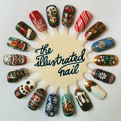 Illustrated Xmas nails funky and fun nail art to try Pinterest