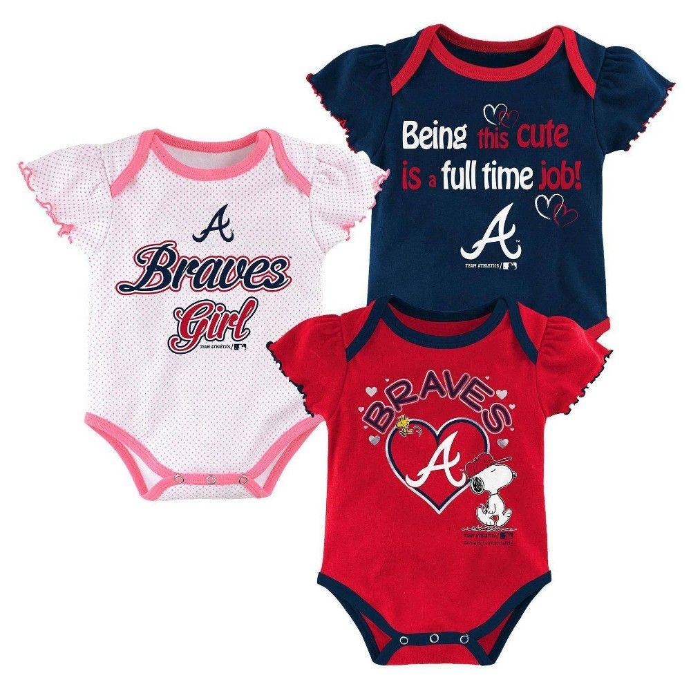Atlanta Braves Baby Girls Cutest Little Fan 3pk Bodysuit Set Multi Colored 6 9 M Girl S Size Me In 2020 With Images Red Sox Baby Girl Atlanta Braves Baby Boston Red Sox Baby