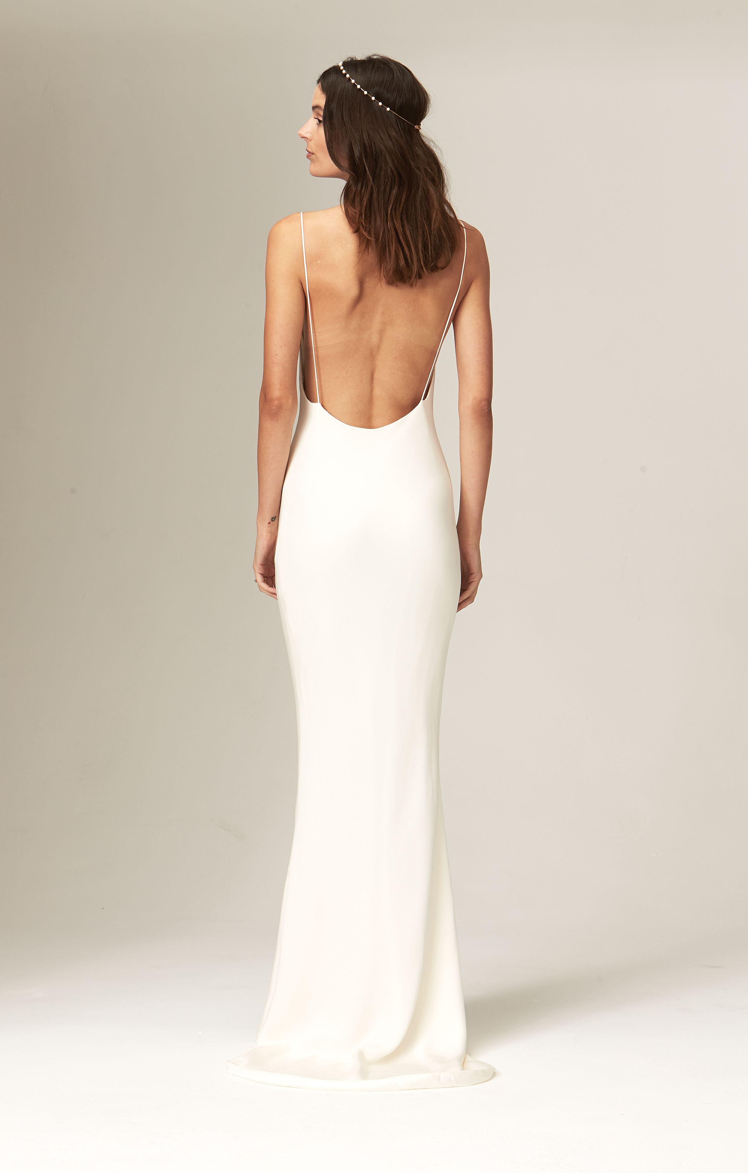 Chloe Savannah Miller Elegant And Understated Bridal Wedding Dress Low Back Cowl Neck Wedding Dress Column Wedding Dress