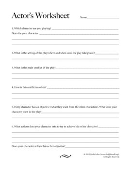 Actor S Character Worksheet Character Worksheets Drama Teacher