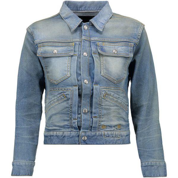 R13 - X-shrunken Trucker Appliquéd Denim Jacket featuring polyvore women's fashion clothing outerwear jackets light denim snap jacket blue denim jacket vintage jackets rock and roll jacket cut off jacket