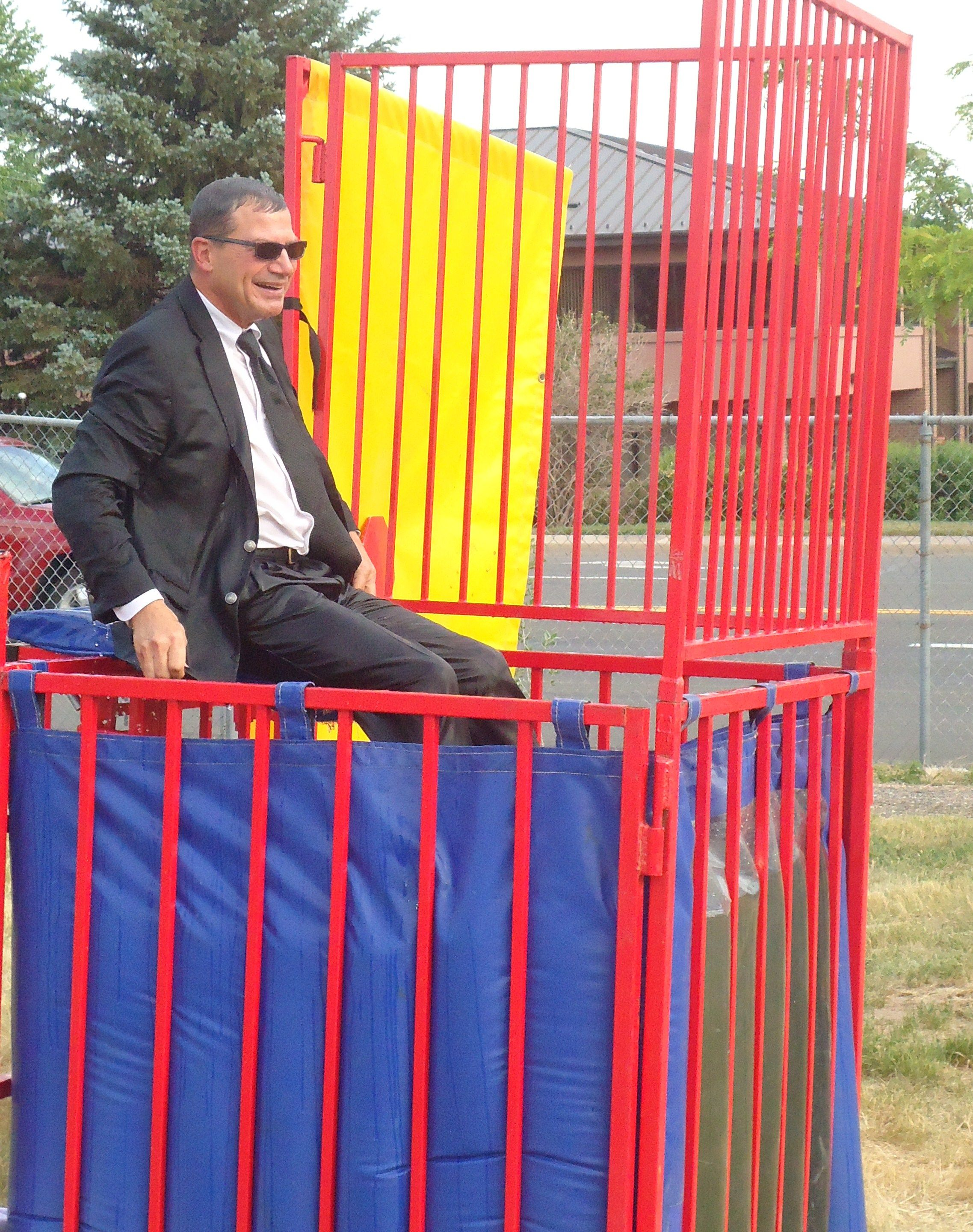 Jay our general manager in the dunk tank at our summer