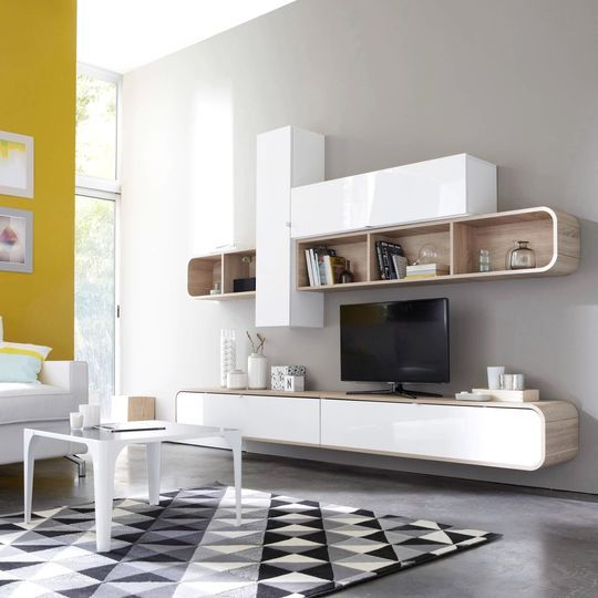 blanc et bois pour un meuble de tv épuré pour un salon ... - Meuble Salon Contemporain Design