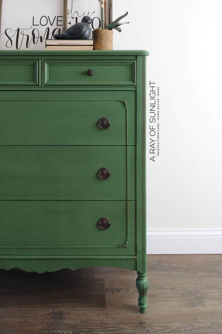 Emerald Green Painted Dresser How To Paint With Milk Paint Green Painted Furniture Green Furniture Painted Dresser [ 1152 x 768 Pixel ]