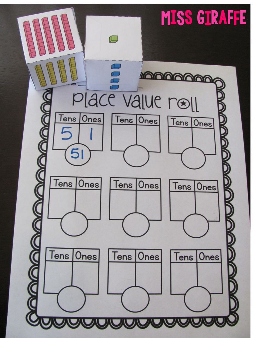 Worksheet Place Value Games First Grade place value game where students roll the dice to make base 10 first grade game