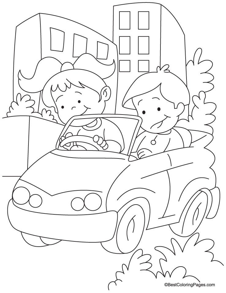 Lets go for a long drive in my car coloring page