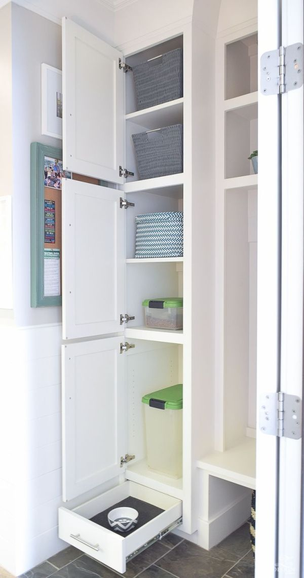 small mud room with pet storage and organization for dog food dog food bowl in drawer white shaker cabinets-1 #whiteshakercabinets