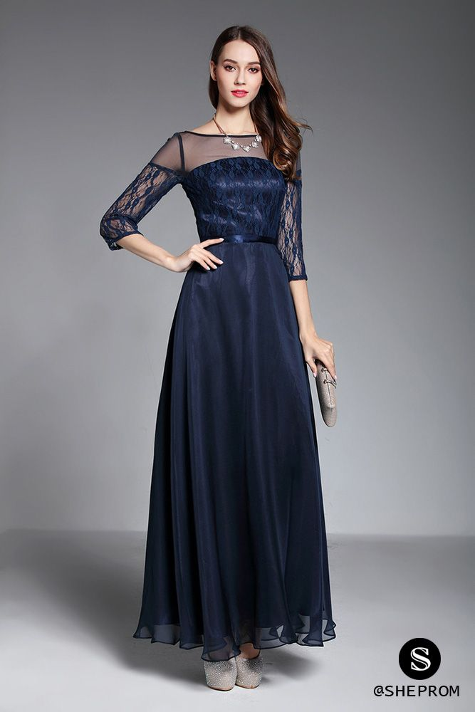 Navy Blue Sheer Sleeves Long Formal Dress 95 Ck624 Sheprom