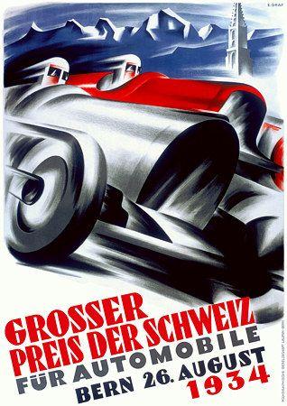 1934 Automobile Grand Prix Bern Switzerland Art Deco Posters