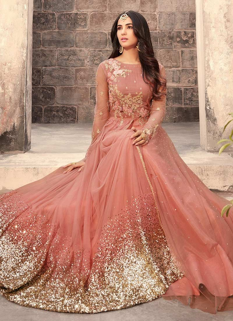 0aec982403 Peach Net Abaya Style Anarkali Suit | Wedding in 2019 | Anarkali ...