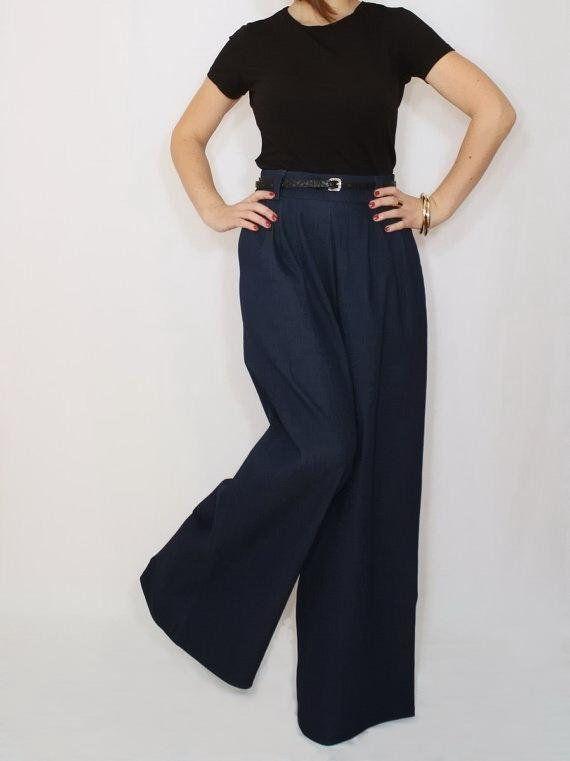 f4e56dbf1fa45a Blue wide leg jeans / High waisted jeans / Plus size wide leg pants / Plus  size jeans women/ Navy