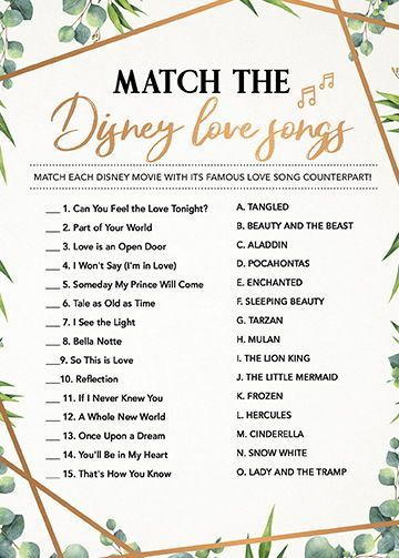 Match the Disney Song, Bridal Shower Games Printables, Bridal Shower Game Idea, Bridal Shower Instant Download, Wedding Game, Bridal Game -   18 wedding Games for money ideas