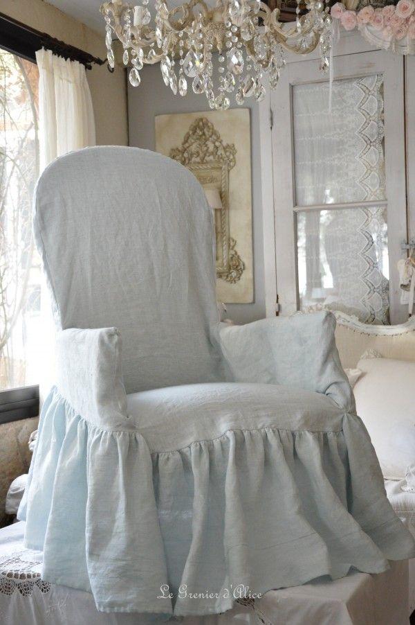 Coussin Shabby Chic Cœur Style Maison de Campagne en Lin Canapé Vintage