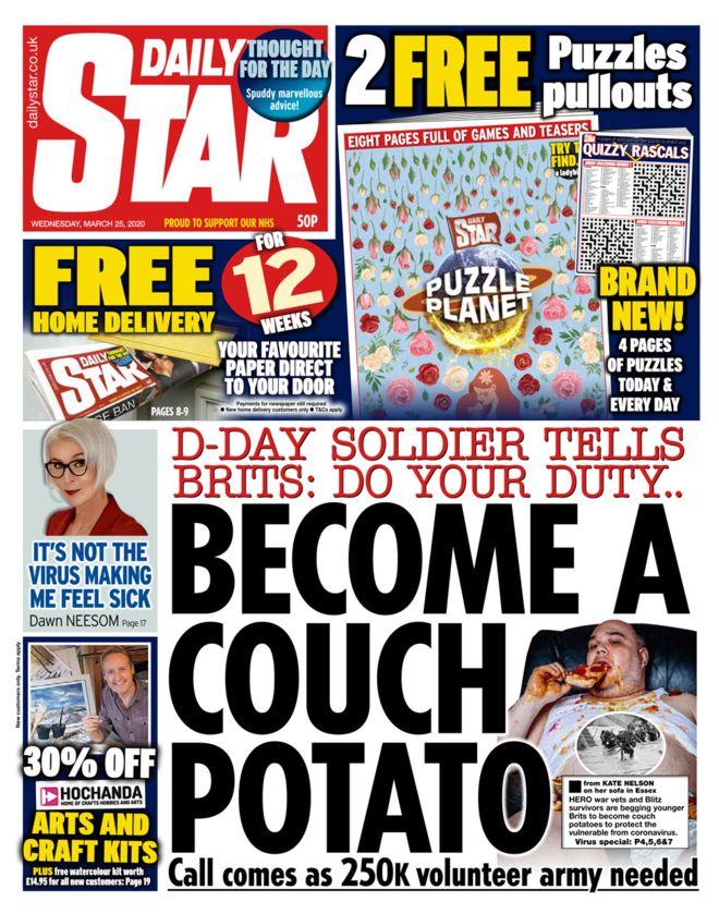 Newspaper headlines Volunteer 'army' and NHS workers