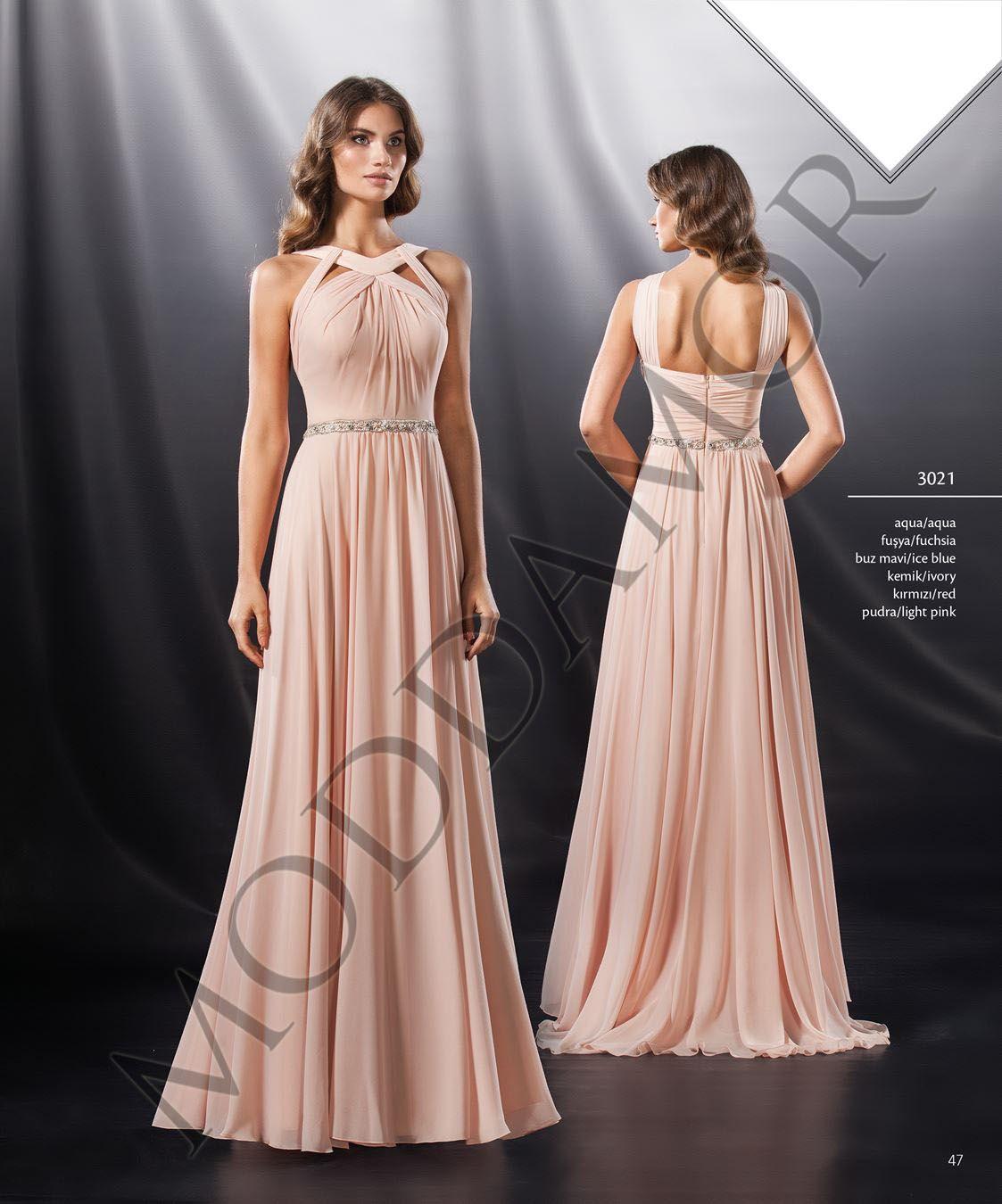 En Sik Tarz Pudra Sifon Uzun Abiye Elbiseler Dress The Dress Nedime Giysileri Elbiseler