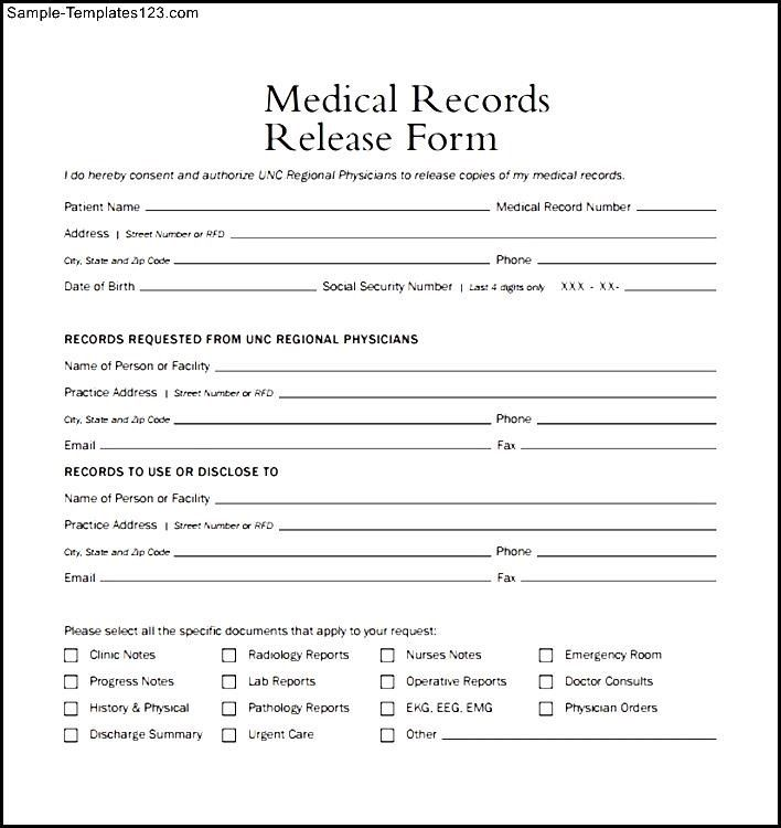 Generic Medical Records Release Form Medical Records Medical Record Medical