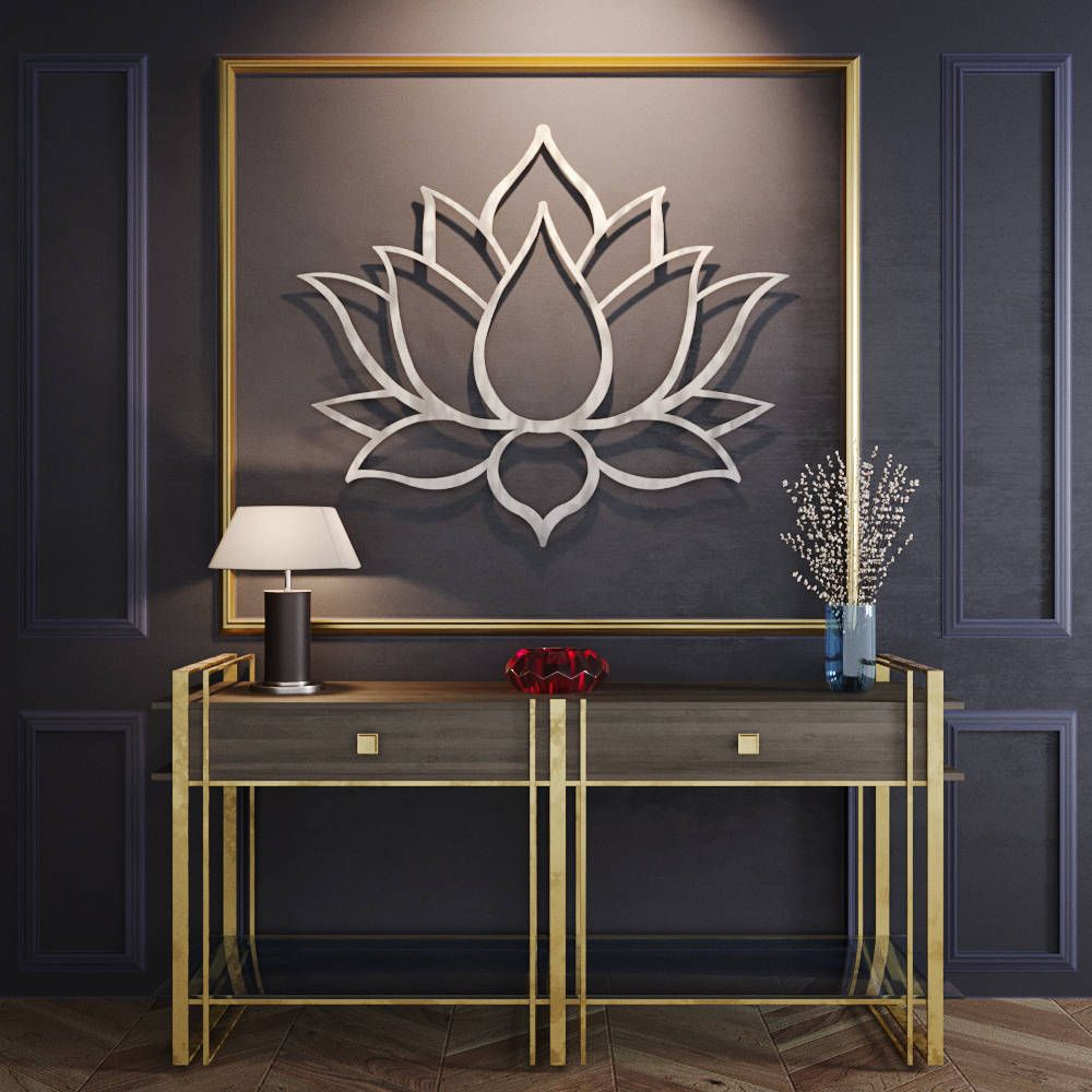 Large Lotus Flower Metal Wall Art, Metal Flower Wall Art, Large Metal Wall  Art, Contemporary Sculpture, Silver Wall Art, Yoga Wall Art