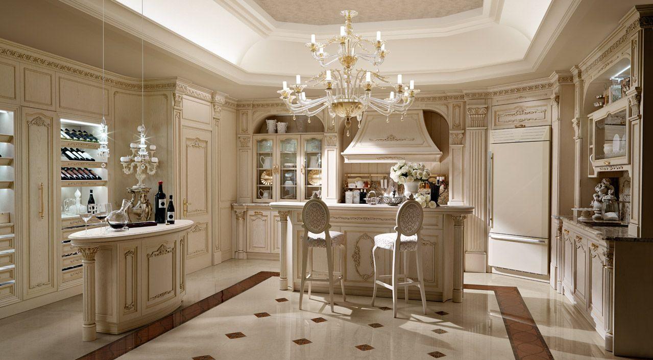 Cucina di lusso in rovere laccato bianco a poro aperto, finiture ...