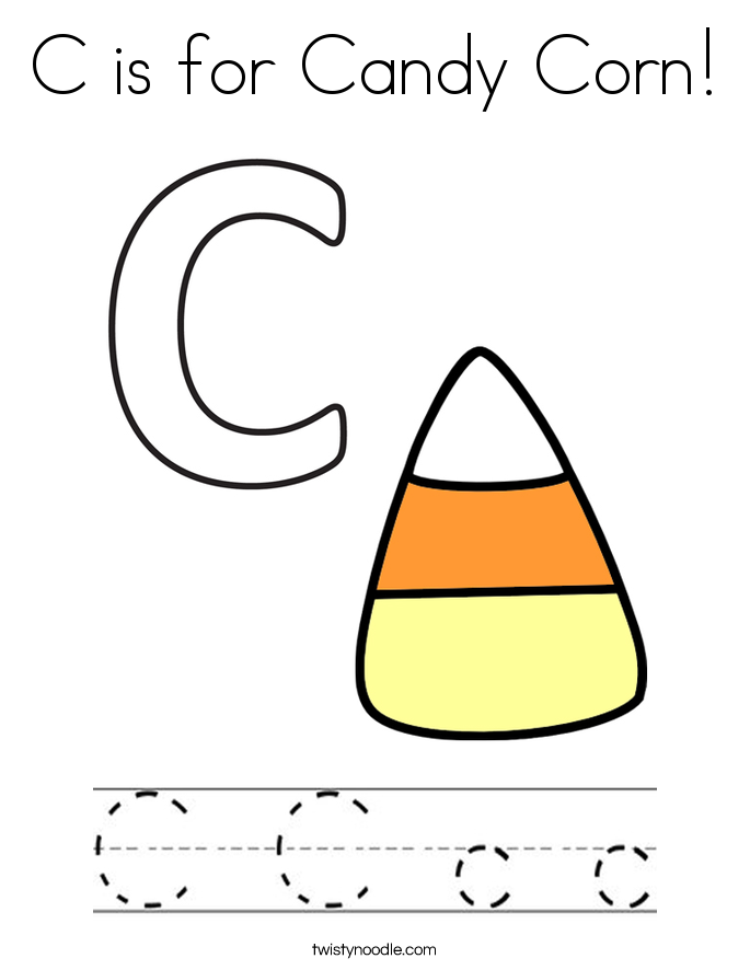 c is for corn coloring page twisty noodle | Candy corn ...