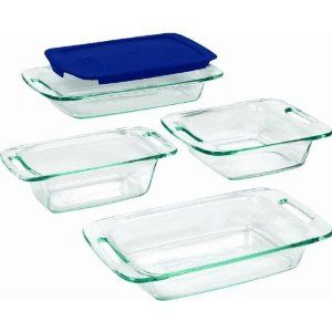 Pyrex Easy Grab 5 Piece Set Includes 1 Ea 3 Quart Oblong With