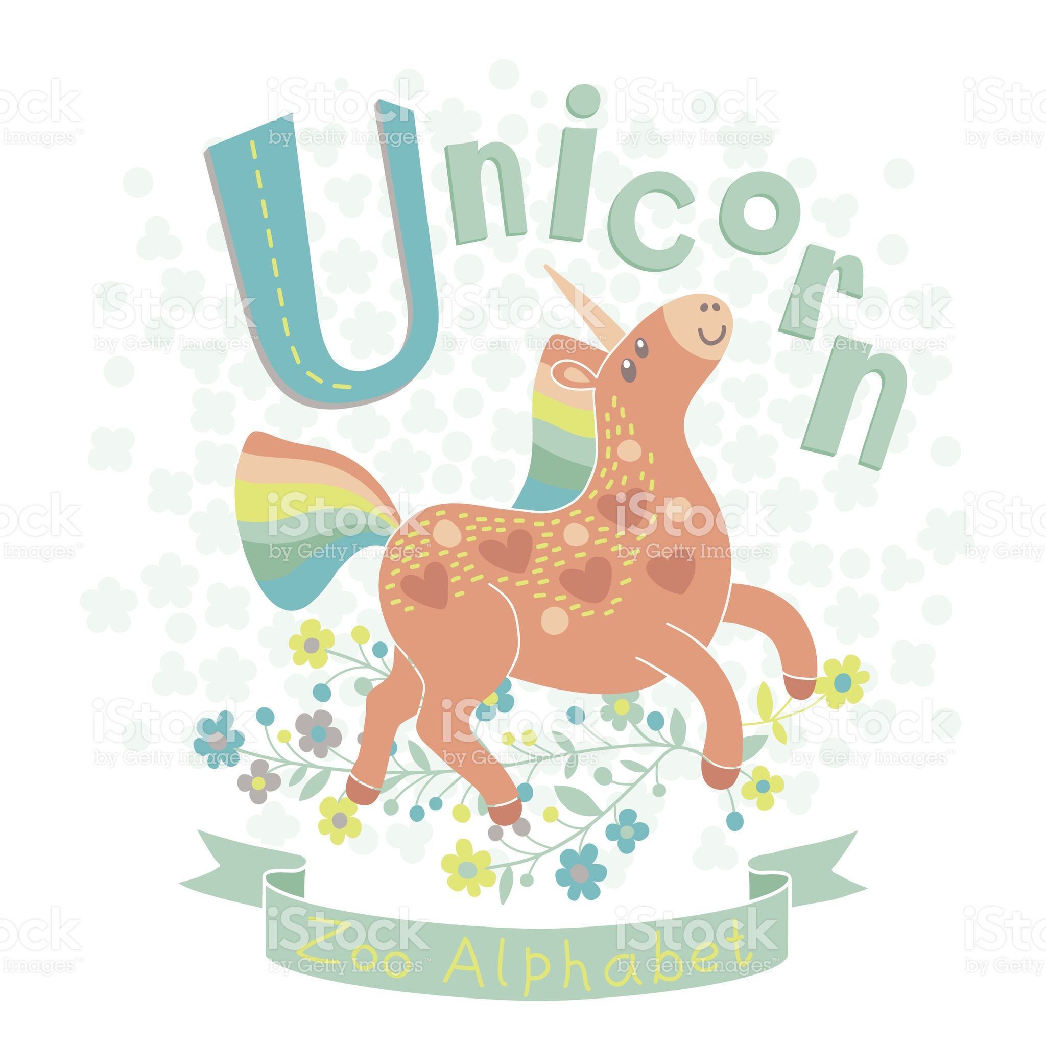Letter U Unicorn Alphabet With Cute Animals Vector Illustration Alfabeto Pintar Colores