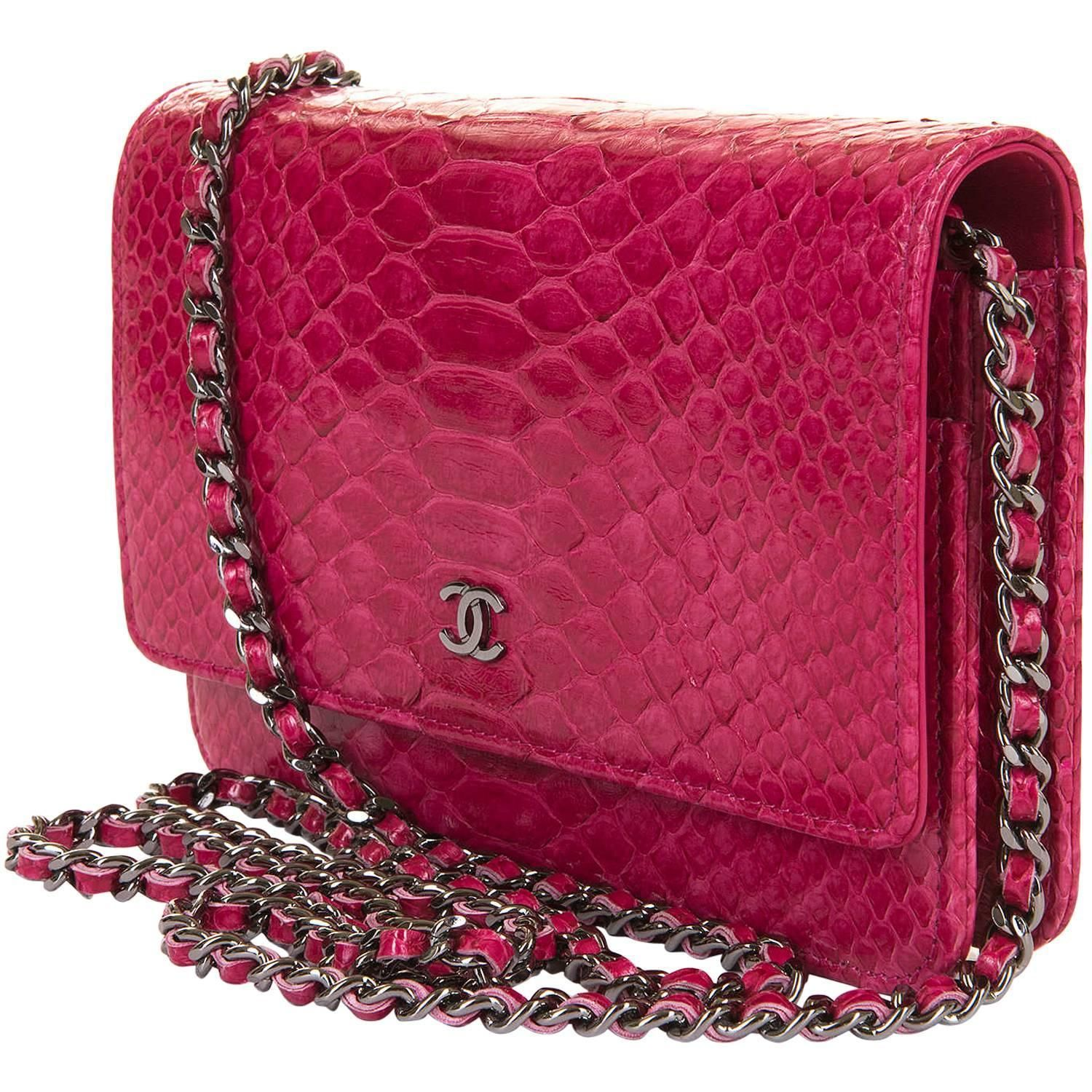 7cf55a9c475a SO SO RARE Chanel 'Tres Chic' WOC in Fushia Pink Python with SHW - Pristine