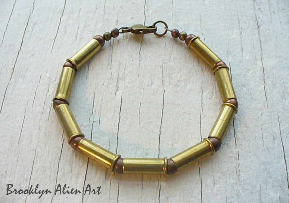 Unique 22 Bullet Casings Jewelry - Mens Brass Bracelet Vintage Beads