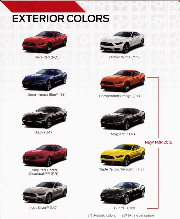 2015 Mustang Colors >> Official List Of The 2015 Ford Mustang Exterior Color