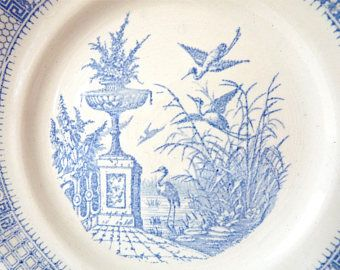 1920 - Antique French collectible plate - Luneville - Late 19th century - Blue Plate - french Decorative plate - french Ironstone