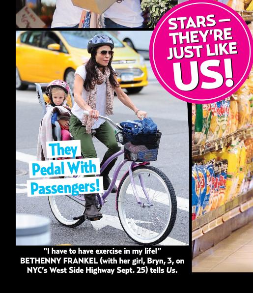 Bethenny Frankel on a bike with daughter! Bethenny