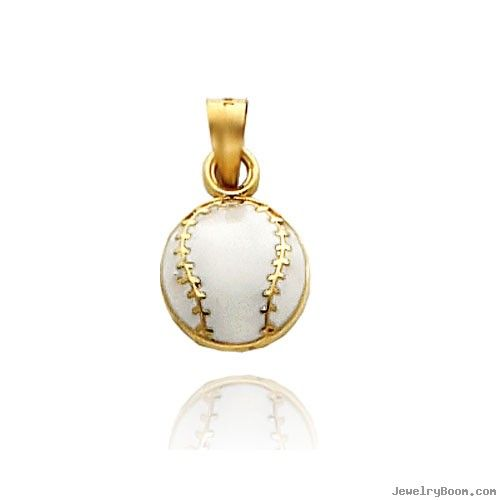 Sport Charms 14k Yellow Gold Enameled Baseball Charm In Sports Jewelry Gold Enamel Sports Jewelry 14k Gold Charms