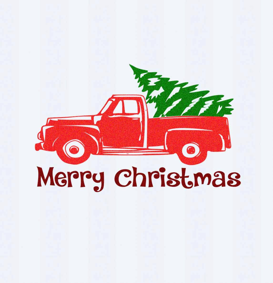 Christmas truck svg cut file decal vector tree winter holidays vintage svg classic truck svg dxf eps png cut file silhouette