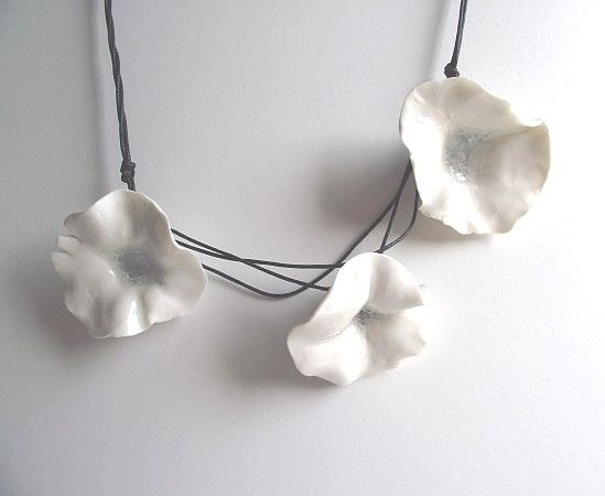 Porcelain necklace with three fresh white flowers necklace from three fresh white porcelain flowers necklace from by lofficina 2500 mightylinksfo