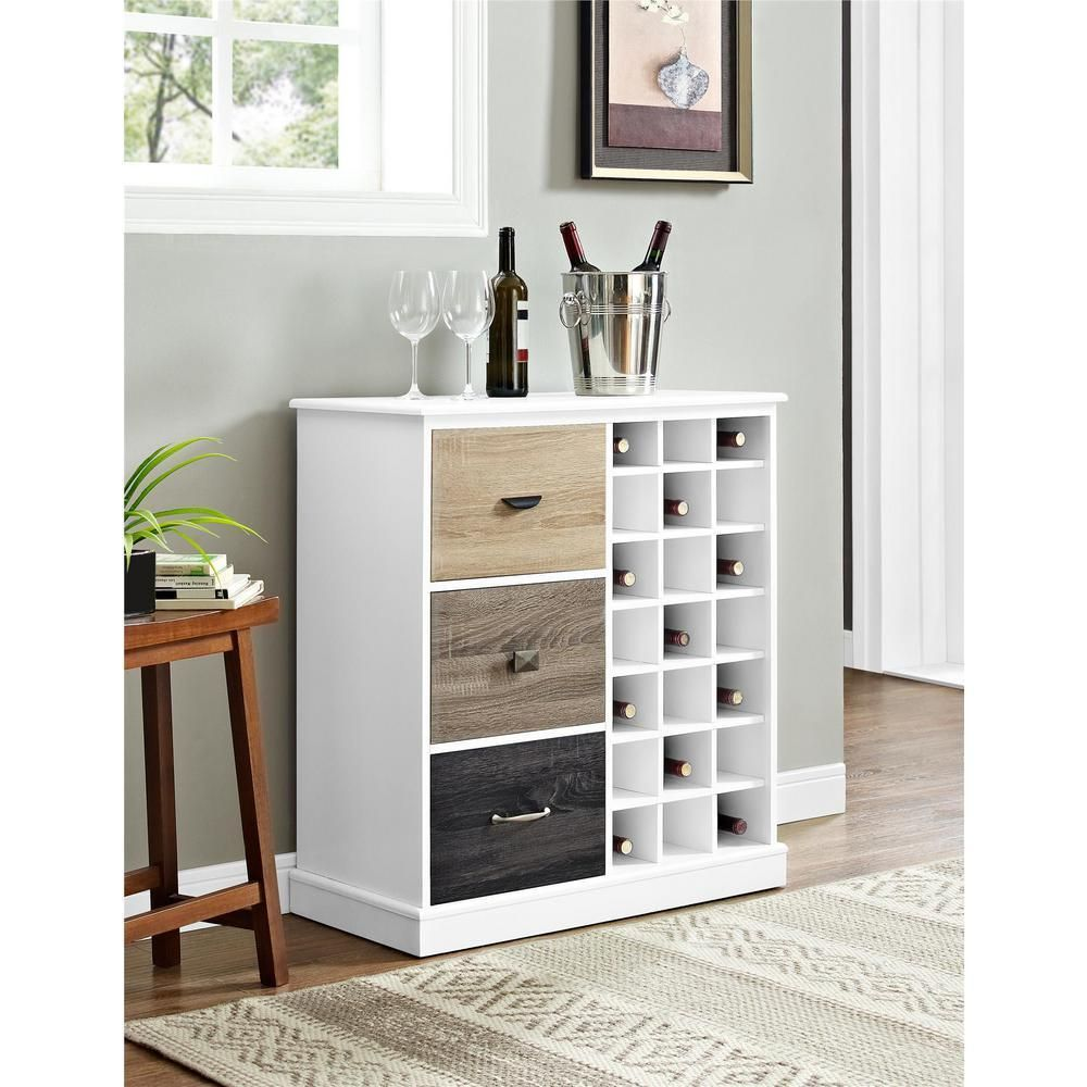 Modern White Wine Buffet Wood Contemporary Bottle Storage