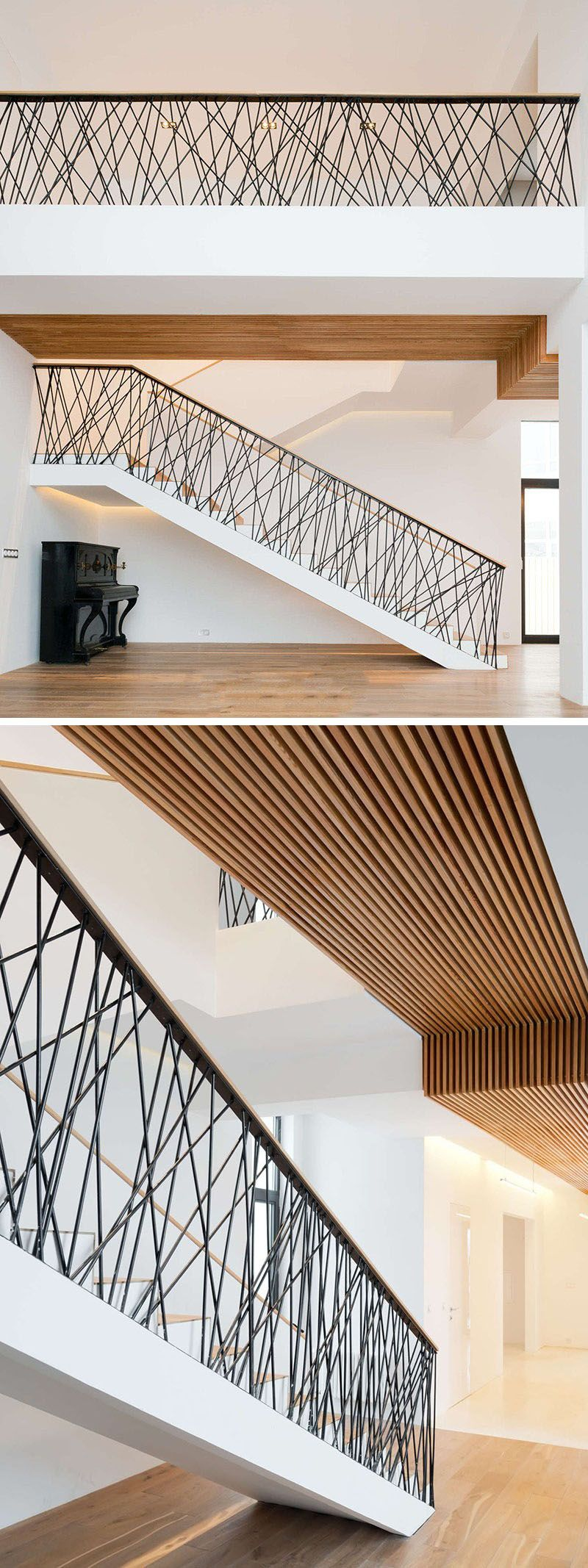 Randomly arranged steel rods have been placed on the railings of these stairs to both protect and act as a focal point in the home.